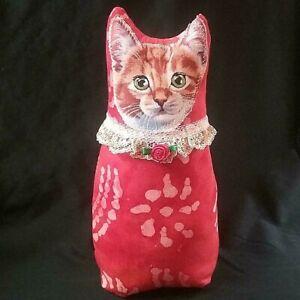 Cat, Kitty, HANDMADE, Brown/ orange, Fabric Doll, Batik. Tie Dye, Red