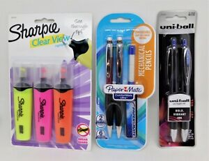 Lot of: Sharpie 3 Pack, Uni-ball 2 Pack, and Paper Mate Mechanical Pencil 2 Pack