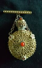 Antique Bohemian 22ct Gold Plate Filigree Scent Bottle & Brooch/Chain c. 1880s