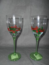 4 STICLA Green Stem Wine Glass Goblets Christmas Dinner Winterberries Ribbons