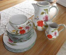 Tirschenreuth Blumenmuster Kaffeegeschirr Ersatzteile mit grünem Rand