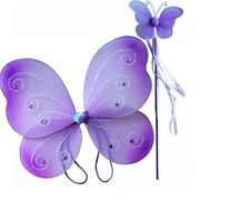 Purple Sparkling Fairy Butterfly Wings Dress Up Costume Butterfly Wing 2pc