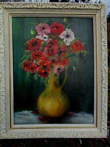 Vintage*Mid-Century*Floral*Still Life*Painting*Signed*