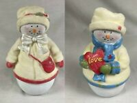 "LOT OF 2 Gund ""The Snowfalls"" Snowman Love Bell/Trinket Box Holiday Figure New"