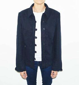 Women's BATELLA Frill Details French Navy Linen Blend Jacket Overshirt UK12 UK14