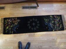 Antique Victorian Velvet painted Piano Table buffet Runner lined 56� long Vtg