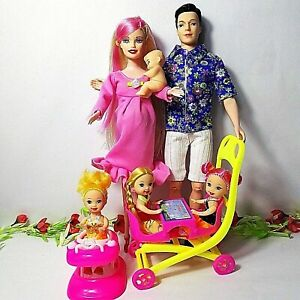 Happy Family Dolls With Mom Dad Kids Set Doll Walker Table Toy Girls Toys