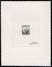 Laos 1952 Boat Postage Due 10 $ Artist Die Proof in black signed Pheulpin /99