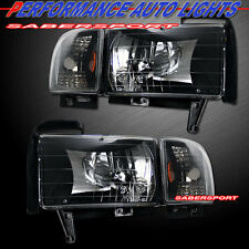 Set of Euro Clear Black Headlights w/ Corner Lights for 94-01 Dodge Ram Pickup