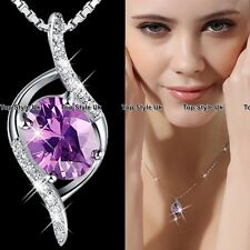 Purple Crystal Diamond Pendant Necklace Chain Silver 925 Gifts for her Mum WE1