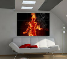 Fire Girl large giant 3d poster print photo mural wall art ia057