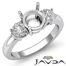 Diamond Engagement Splendid Ring 18k White Gold 3 Stone Round Semi Mount 0.3Ct
