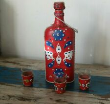 More details for 1970s yugoslavian  bottle and three glasses, with leather cover and holders