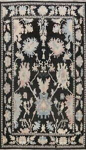 Geometric Floral Black Oushak Turkish Area Rug Vegetable Dye Handmade WOOL 10x14