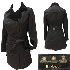 Ladies BARBOUR INTERNATIONAL Black WAX QUILTlined TRENCH MAC JACKET Size 8 #2916