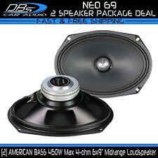 "2 American Bass NEO 6.9 6x9"" Midrange Loud Speaker 900W 4ohm Car Audio Mid Pair"