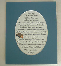 DEAREST MOM DAD Mother Father KIND PATIENCE Protective LOVE verses poems plaques