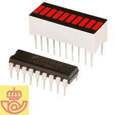 Display led 10 segmentos ROJO + driver controlador LM3914 (Arduino, ptototipos)