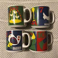 VINTAGE 1983 12 DAYS OF CHRISTMAS Coffee MUGS (SET OF 4) GRANT HOWARD EUC