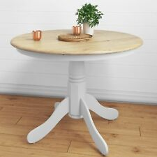 4 Seater Dining Table White Rhode Island Solid Rubber Wood Extendable Round