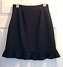 Women's Size 6 Larry Lavine Black Ruffled Hem Skirt