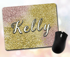 Custom ~ Personalized Font & Name, Gold, Rose Gold, Glitter ~ Vivid Mouse Pad