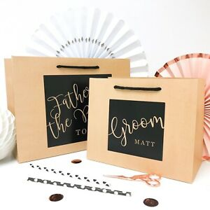 Personalised wedding gift bag | LUXURY KRAFT & BLACK BOUTIQUE |party favour bags