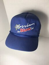 Vintage Morris 9 Lives Cat Hat Blue Captain Stitched Leather Dad Hat Buckle