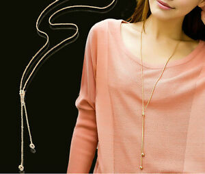 Long Necklace Sweater Chain Lariat Locket Necklace Rose Gold Plated Jewelry