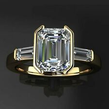 Real 14k Yellow Gold over 925 Sterling Silver White Emerald Three Stone Ring CZ