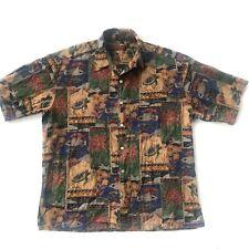 Tori Richard Turtles Tropical Fish Hawaiian Shirt Men Camp Medium Palm Tree Fade