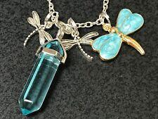 """Dragonfly Aqua Blue W/Aqua Quartz Hexagon Charm Tibetan Silver 18"""" Necklace N39"""