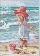 Counted Cross Stitch Kit GIRL AT THE BEACH Dimensions Gold Collection