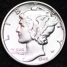 1944-D AU MERCURY DIME / DENVER MINT ALMOST UNCIRCULATED 90% SILVER COIN