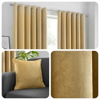 Fusion STRATA Ochre Yellow  Dim Out Eyelet Curtains & Cushions
