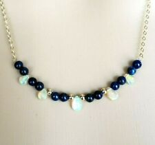 14k Yellow Gold & Lapis Lazuli Bead Necklace 18""