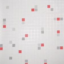 Tapete PS 18100-10 weiß rot grau Fliesenoptik Fliesen Mosaik Küchentapete