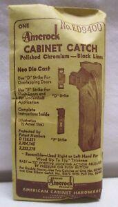 Vintage Amerock Cabinet Catch Latch Polished Chrome Black Lines ED9400 1940s