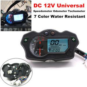 12000RPM 12V Motorcycle LCD Digital Speedometer 7Color Tachometer Odometer Gauge