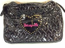 Betsey Johnson Betseyville Black Puffy Heart Weekend Travel  Shoulder Bag