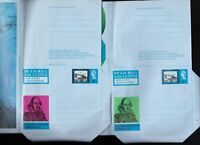 Great Britain 2 x Shakespeare Festival air letters unused