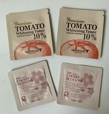 Tony Moly Hayan Cherry Blossom Whitening Cream, Skinfood Tomato Toner 4 samples