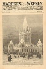 The Ice Palace For The Winter Carnival At Montreal, Canada, 1883 Antique Print