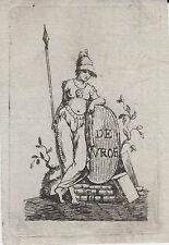 § EX-LIBRIS de VROE - BELGIQUE, XVIIIème siècle §