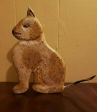 Vintage Walter & June Gottshall Carved Wood Folk Art Cat Primitive Doorstop