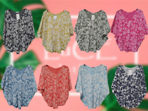 NEW Ladies OVERSIZE Lightweight Lagenlook QUIRKY FLORAL Baggy COTTON Tunic TOP