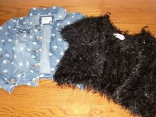 Girls~Justice~Lot of 2 Polka Dots&Feathered Wrap/Crop Jacket Sizes 8-10 Cute!