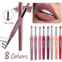 12 Color Waterproof Dual Pencil Lipstick Pen Makeup Matte Lip Liner Long Lasting