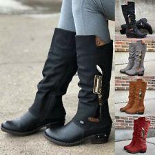 ❤️ Women's Mid Calf Pocket Boots Low Block Heel Zip Up Cowboy Riding Boots Shoes