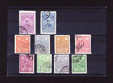 LOT #10   Iran RARE REZA SHAH 10 single used stamp set Pahlavi Book Value $65